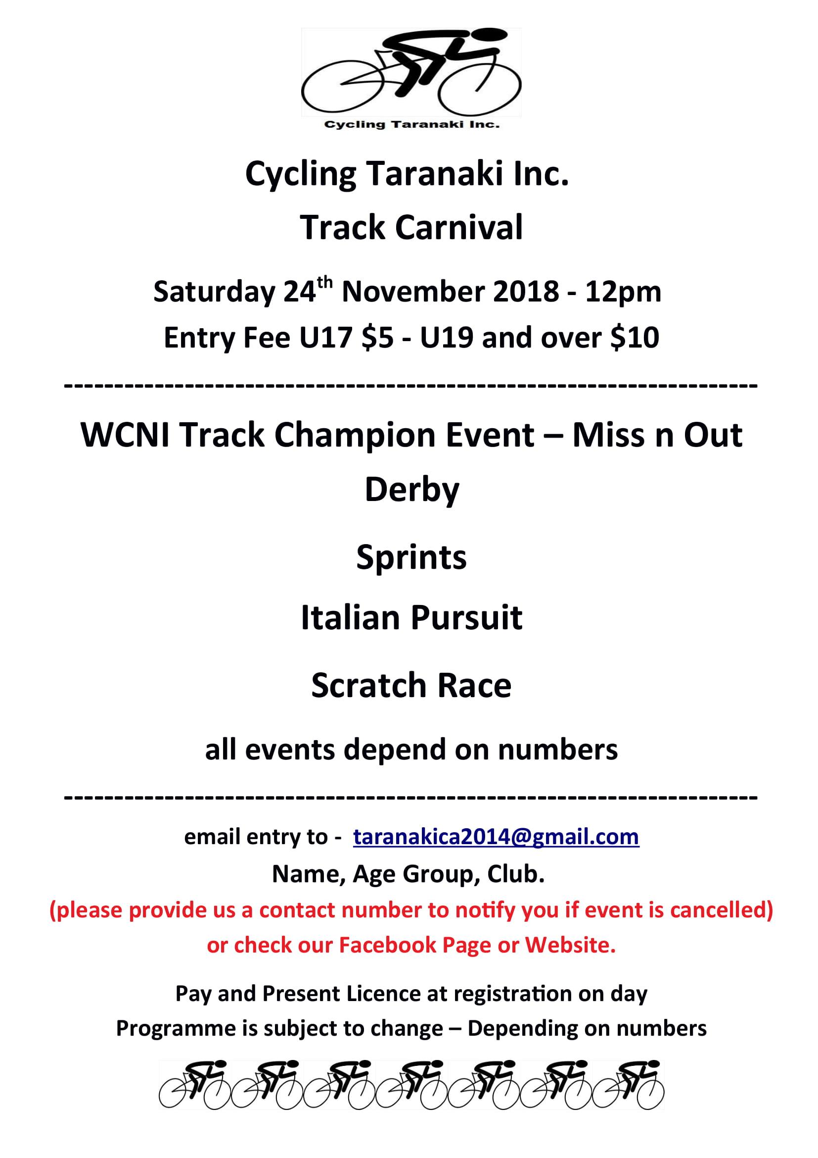 Cycling Taranaki Track Carnival Flyer 1