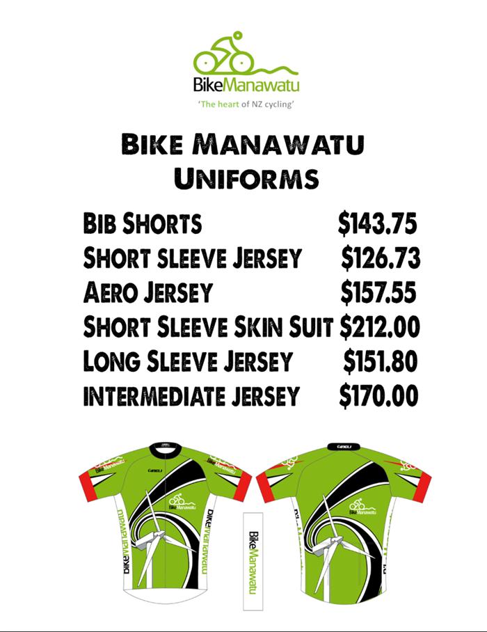 Bike Manawatu Uniform Price List