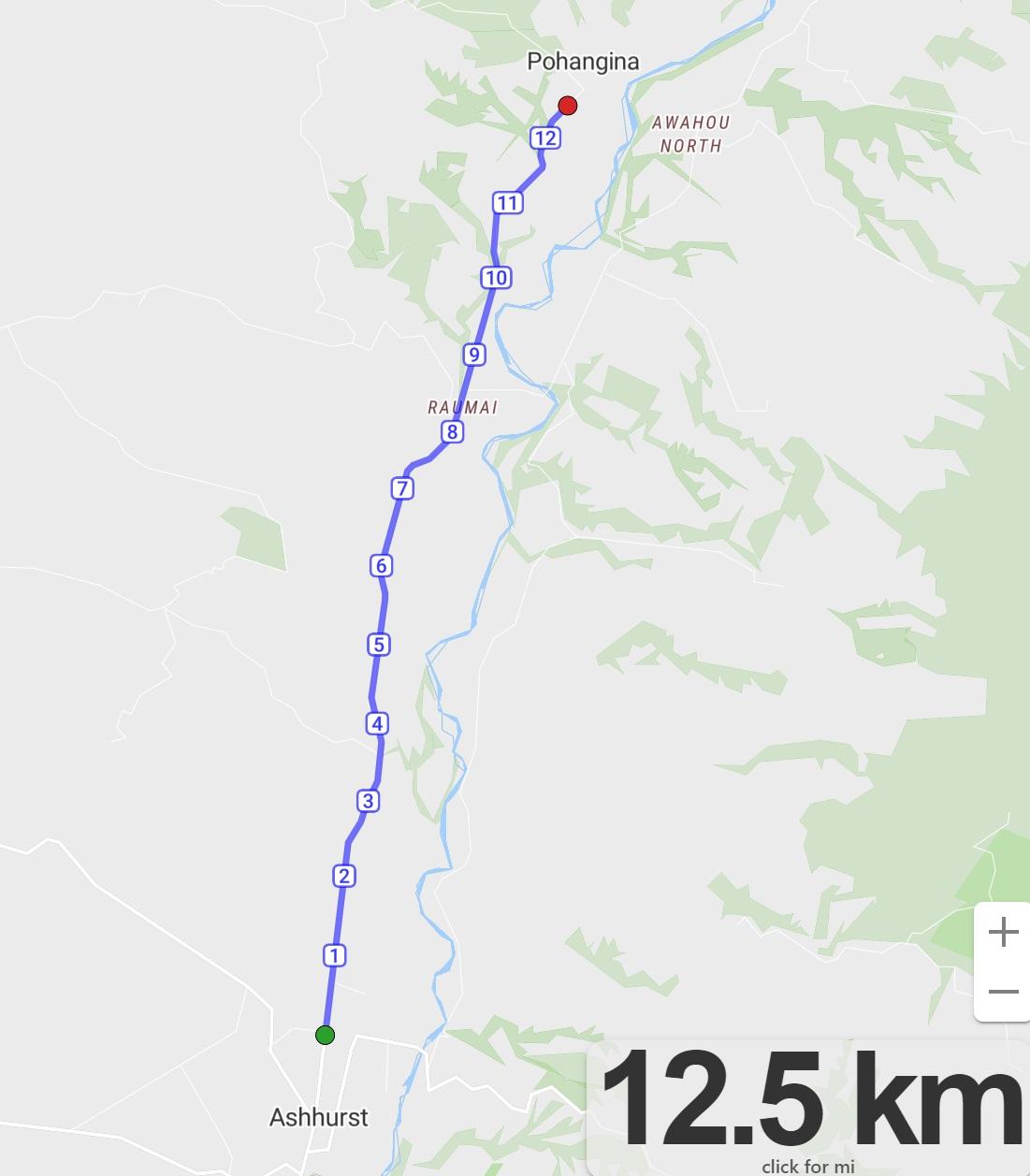 Stage 2 Ashhurst to Pohangina map