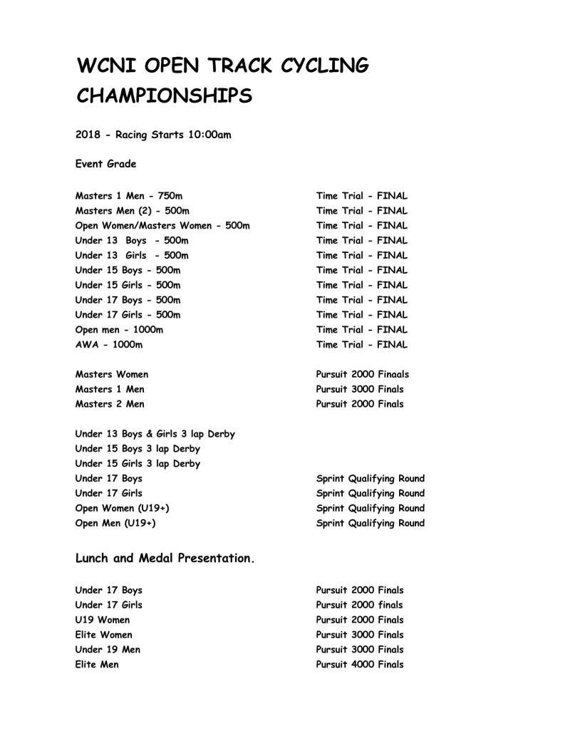 WCNI Track Champs Program 26 Jan 2019-1