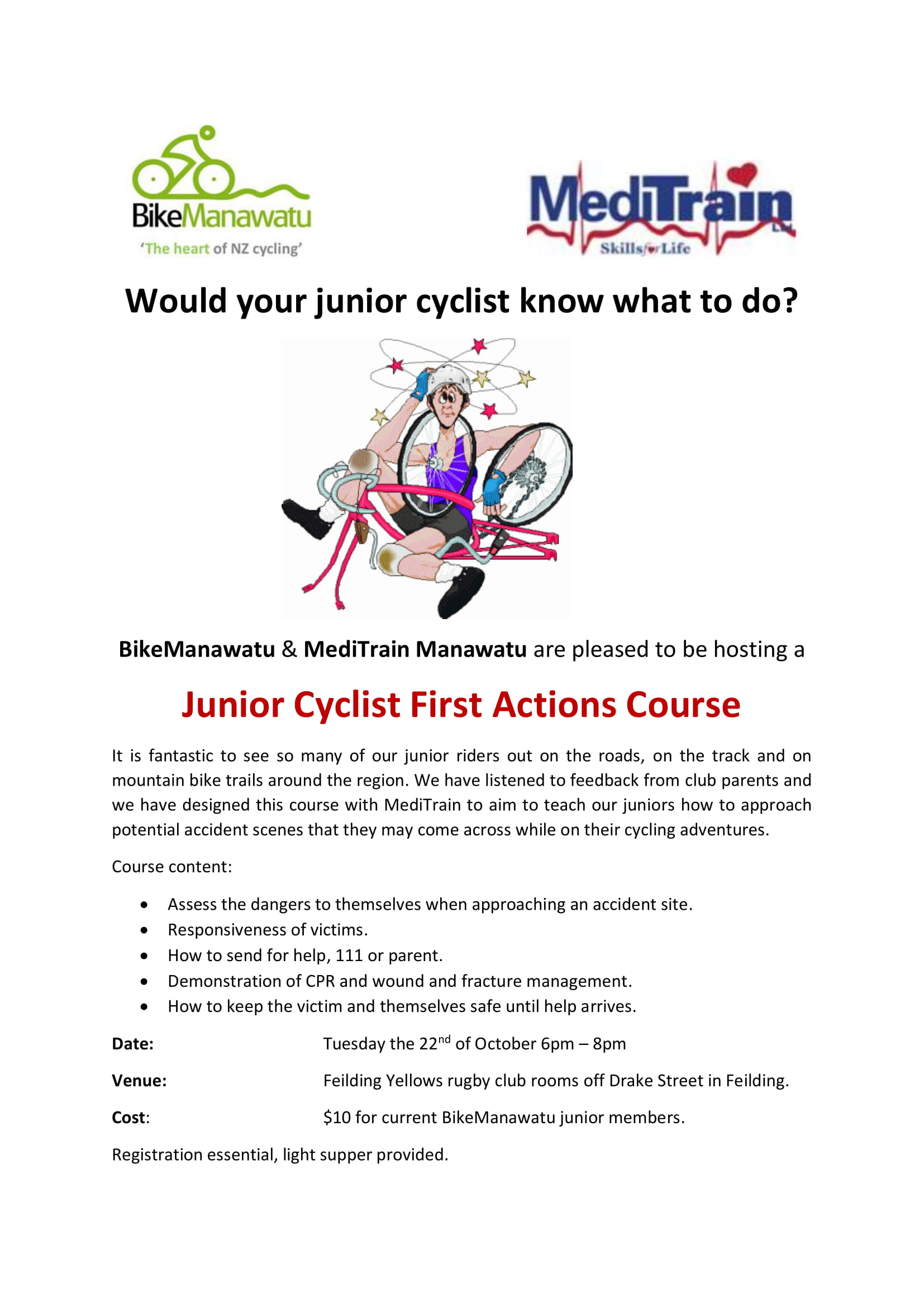 Junior cyclist first actions course 1