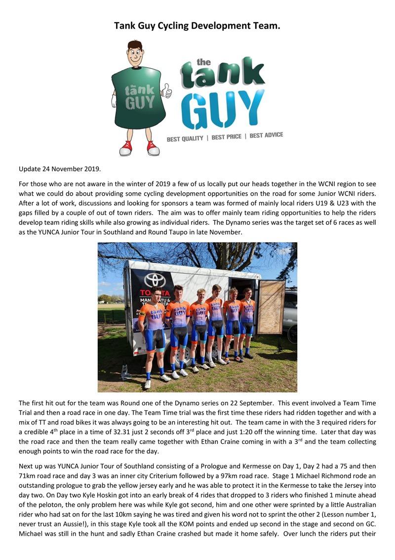 Tank Guy Cycling Development Team Update.-1