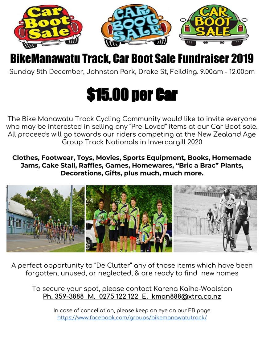 BikeManawatu Track, Car Boot Sale Fundraiser 2019-1
